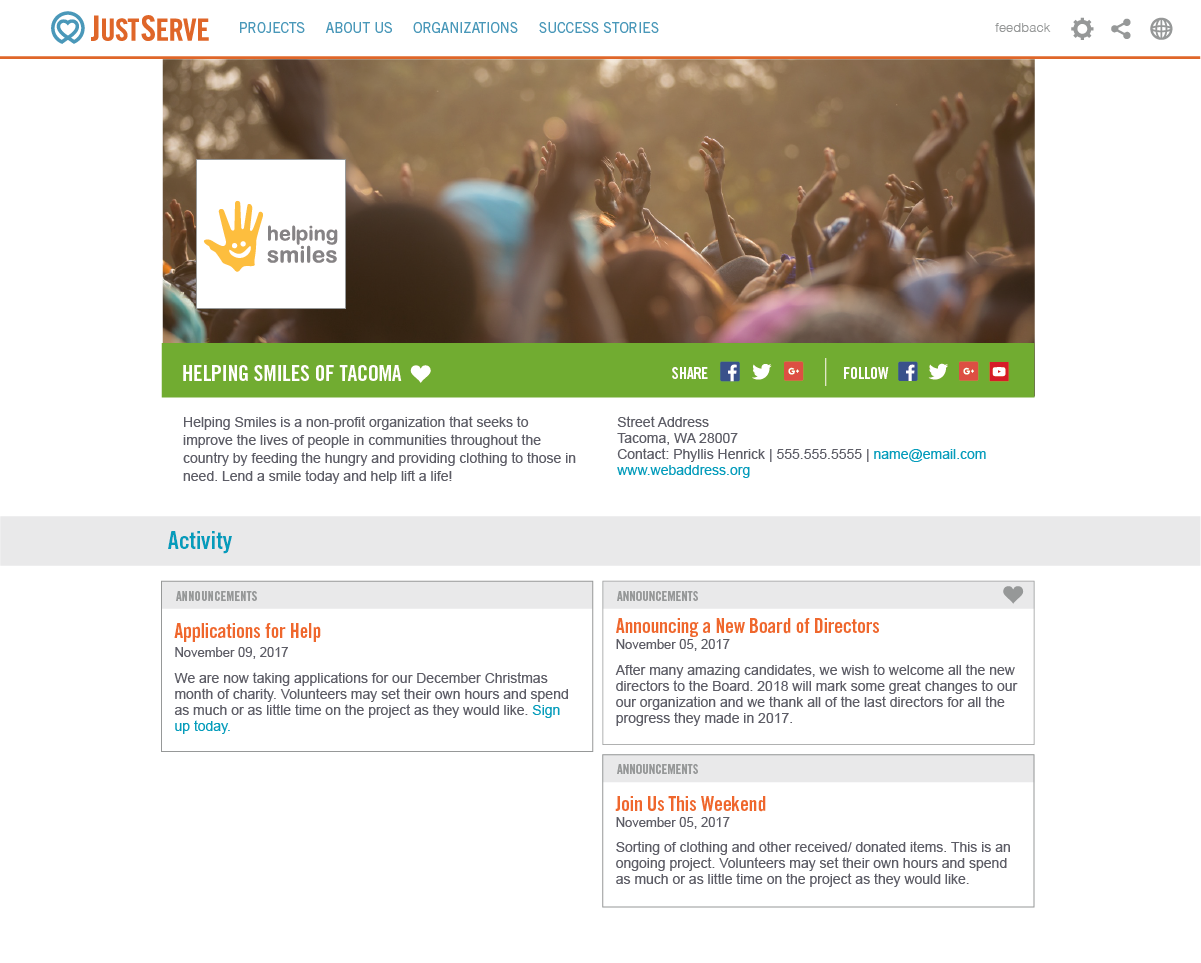 Screenshot of new Organizations page layout.